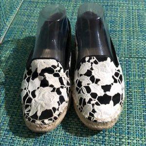 Cole Haan White / Black Lace Canvas Ballet Flats